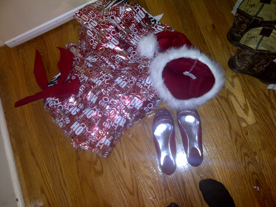 In which my roommate had to cut my Santacon dress off of me. Adulthood knows no integrity.