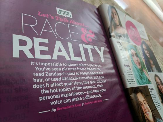 A Seventeen magazine print story about Race & Reality, focusing on young women of color and their thoughts on representation, with the author's name in the byline.